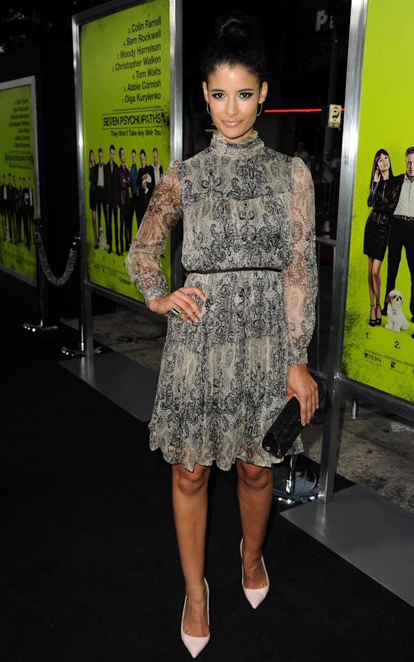 """WESTWOOD, CA - OCTOBER 01:  Actress Jessica Clark arrives at the premiere of CBS Films' """"Seven Psychopaths"""" at Mann Bruin Theatre on October 1, 2012 in Westwood, California.  (Photo by Kevin Winter/Getty Images)"""