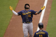 Milwaukee Brewers' Omar Narvaez looks up as he nears the plate on his two-run home run during the sixth inning of the team's baseball game against the San Diego Padres, Wednesday, April 21, 2021, in San Diego. (AP Photo/Gregory Bull)