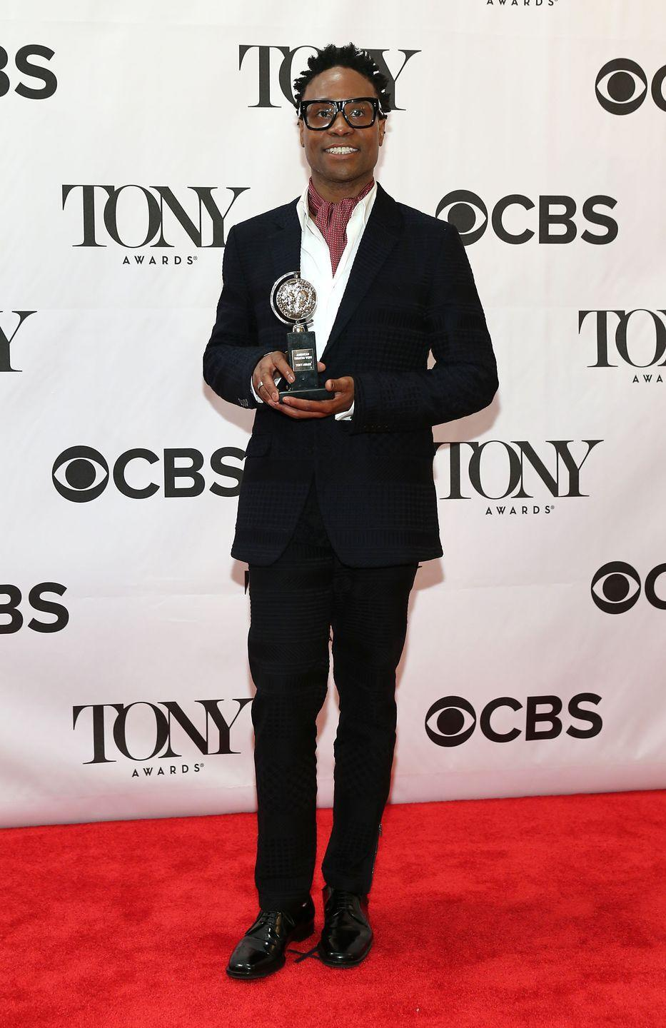 <p>Porter at the 67th annual Tony Awards in a black suit and red checkered ascot. </p>