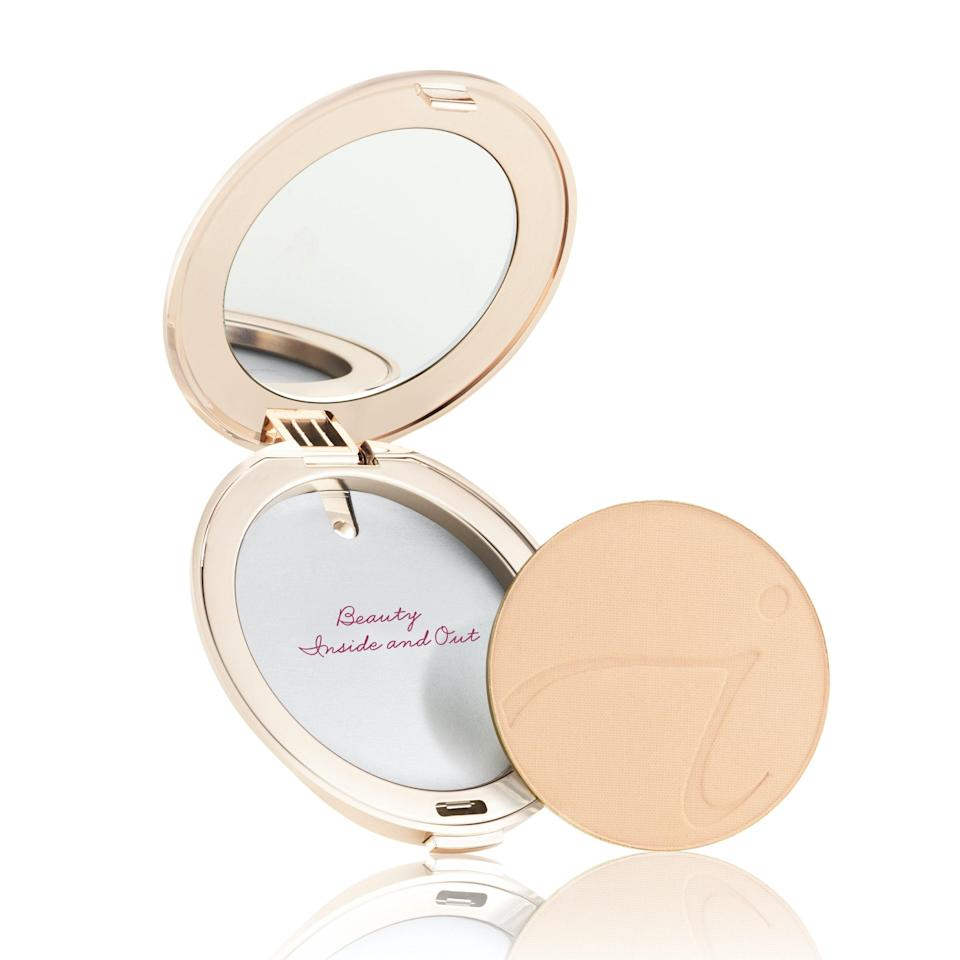 """Considering how equally pretty and practical compacts can be, it's mind-boggling that more makeup brands don't make refillable ones. Jane Iredale has been offering its PurePressed Base Mineral Foundation in a refillable compact for years — long before other brands started getting hip to the idea. After your first order of the weightless, mattifying pan of sheer, SPF-enhanced powder in the compact, you can continue filling it with your shade of choice <a href=""""https://shop-links.co/1736407487153731806"""" rel=""""nofollow noopener"""" target=""""_blank"""" data-ylk=""""slk:for $44"""" class=""""link rapid-noclick-resp"""">for $44</a>."""