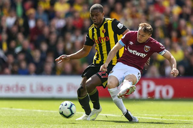Mark Noble set West Ham United on the way at Vicarage Road. (Credit: Getty Images)