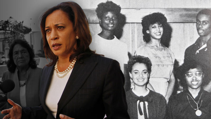 Kamala Harris, candidate for Attorney General for the State of California, appeared for a press conference in downtown Los Angeles with Dolores Huerta on September 27, 2010. Also, Kamala Harris in a Howard University Yearbook from her time in college. (Photo by Al Seib/Los Angeles Times via Getty Images/Yahoo News)