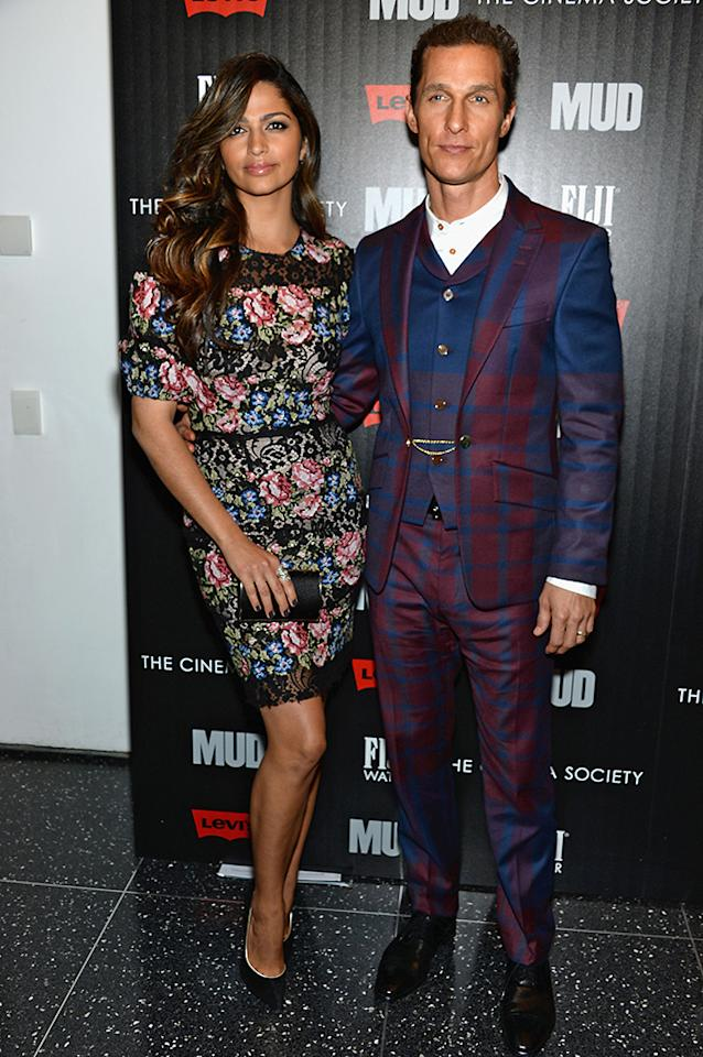 "NEW YORK, NY - APRIL 21:  Camila Alves and Matthew McConaughey attend the Cinema Society with FIJI Water & Levi's screening of ""Mud"" at The Museum of Modern Art on April 21, 2013 in New York City.  (Photo by Dimitrios Kambouris/Getty Images)"
