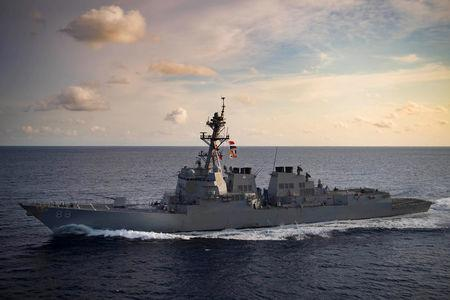 The Arleigh Burke-class guided-missile destroyer USS Preble (DDG 88) transits the Indian Ocean