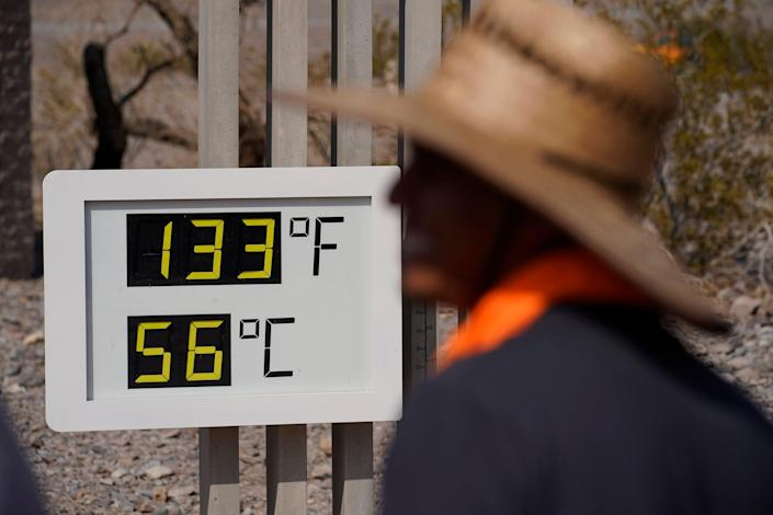 A thermometer shows an official temperature at Death Valley National Park in California on July 11, 2021.
