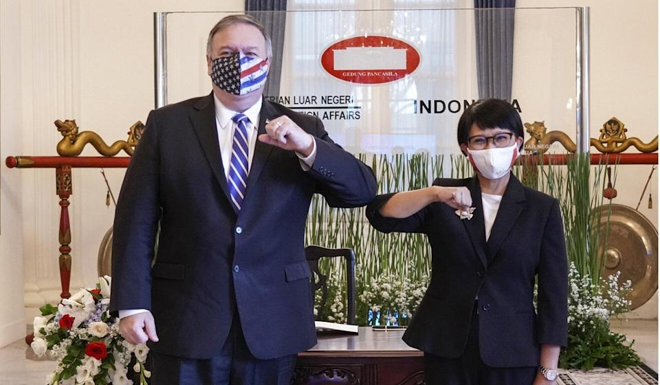 Mike Pompeo with Indonesia's Foreign Minister Retno Marsudi. Photo: AP