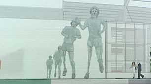 An artist's rendering of the new Terry Fox Memorial in Vancouver depicts the four sculptures designed by author and artist Douglas Coupland.