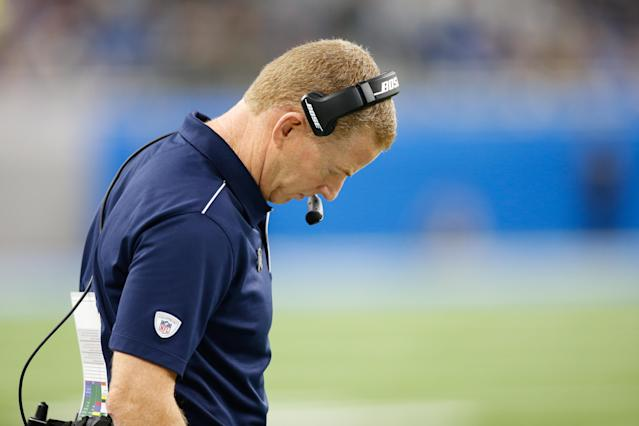 Dallas Cowboys head coach Jason Garrett looks on during a regular season game between the Dallas Cowboys and the Detroit Lions. (Scott W. Grau/Icon Sportswire via Getty Images)