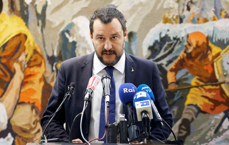 Italy's Interior Minister Matteo Salvini talks at a news conference during his official visit in Tunis