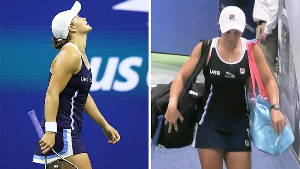 World No.1 Ash Barty (pictured left) becoming irritated during her match against Shelby Rogers and Barty (pictured right) leaving Arthur Ashe Stadium.