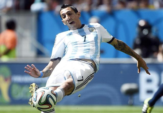Argentina's midfielder Angel Di Maria kicks the ball during a quarter-final football match between Argentina and Belgium at the Mane Garrincha National Stadium in Brasilia during the 2014 FIFA World Cup on July 5, 2014 (AFP Photo/Martin Bureau)