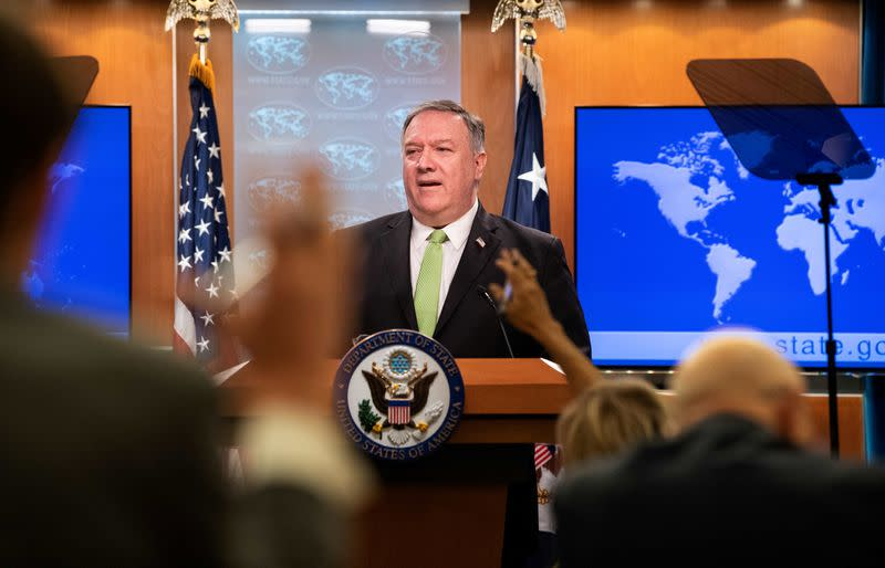 U.S. Secretary of State Mike Pompeo speaks to the media at the State Department in Washington