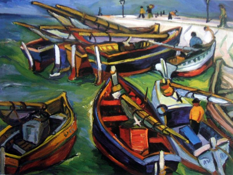 """This undated photo provided by The City of Tshwane on Monday, Nov. 12, 2012, shows a 1931 Irma Stern """"Fishing Boats"""" oil on canvas. Police in South Africa said Monday that  robbers posing as visitors to an art museum stole more than $2 million worth of art including  """"fishing boats""""  from an exhibit near the country's capital. (AP Photo/The City of Tshwane)"""