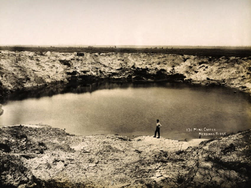 A huge bomb crater at Messines Ridge in Northern France, photographed soon after the end of World War One, circa March 1919. This image is from a series documenting the damage and devastation that was caused to towns and villages along the Western Front in France and Belgium during the First World War. (Photo by Popperfoto/Getty Images)