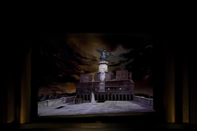 """This artist rendering released by Metropolitan Opera shows a set model for Act III of David McVicar's new production of """"Tosca,"""" designed by John Macfarlane. The Metropolitan Opera is scrapping Luc Bondy's maligned production of Puccini's """"Tosca"""" after just 59 performances. The Met said Wednesday, Feb. 15, 2017, a new staging by McVicar will open New Year's Eve, one of five new productions next season. (Metropolitan Opera via AP)"""