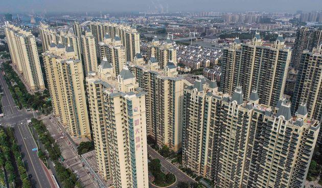 This aerial photo taken on September 17, 2021 shows a housing complex by Chinese property developer Evergrande in Huaian in China's eastern Jiangsu province. - China OUT (Photo by STR / AFP) / China OUT (Photo by STR/AFP via Getty Images) (Photo: STR via Getty Images)