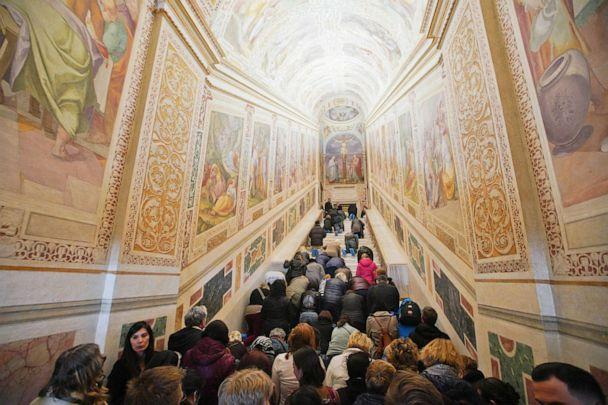 PHOTO: Faithful kneel on the newly restored Holy Stairs during a special opening, in Rome, Thursday, April 11, 2019. (Andrew Medichini/AP)
