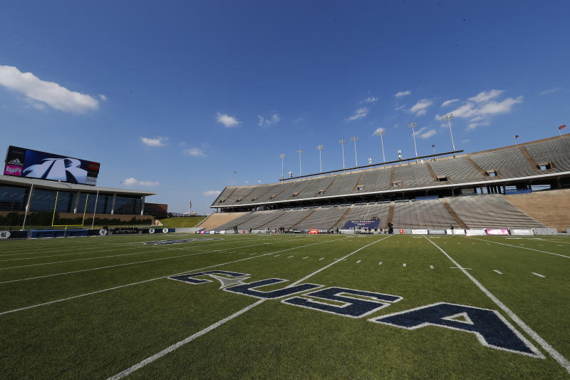 Rice Stadium and the conference USA name is seen in a general stadium view before an NCAA football game on Friday, Sept. 6, 2019 in Houston. (AP Photo/Matt Patterson)
