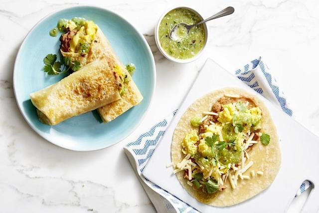 "<p>For the perfect grab-and-go breakfast, throw together a bunch of these make-ahead breakfast burritos. Wrap them in foil and pop them in the freezer for up to three weeks, then unwrap and microwave until warm for a fast and easy way to start the day.<br></p><p><em><a href=""https://www.goodhousekeeping.com/food-recipes/easy/a21603870/breakfast-burritos-recipe/"" rel=""nofollow noopener"" target=""_blank"" data-ylk=""slk:Get the recipe for Breakfast Burritos »"" class=""link rapid-noclick-resp"">Get the recipe for Breakfast Burritos »</a></em></p><p><strong>RELATED: </strong><a href=""https://www.goodhousekeeping.com/food-recipes/easy/g871/quick-breakfasts/"" rel=""nofollow noopener"" target=""_blank"" data-ylk=""slk:55 Quick and Easy Healthy Breakfasts for Your Busiest Mornings"" class=""link rapid-noclick-resp"">55 Quick and Easy Healthy Breakfasts for Your Busiest Mornings</a></p>"