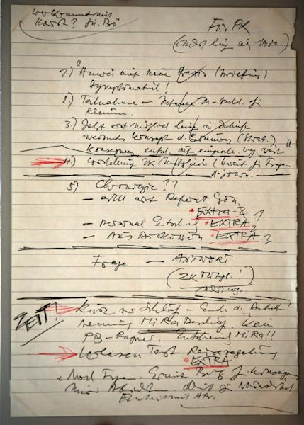 Schabowski's notes for the now famous news conference at which he inadvertently announced the fall of the Berlin Wall