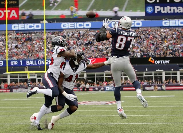 <p>New England Patriots tight end Rob Gronkowski (87) makes the catch and drives for a touchdown against the Houston Texans in the first quarter at Gillette Stadium. Mandatory Credit: David Butler II-USA TODAY Sports </p>