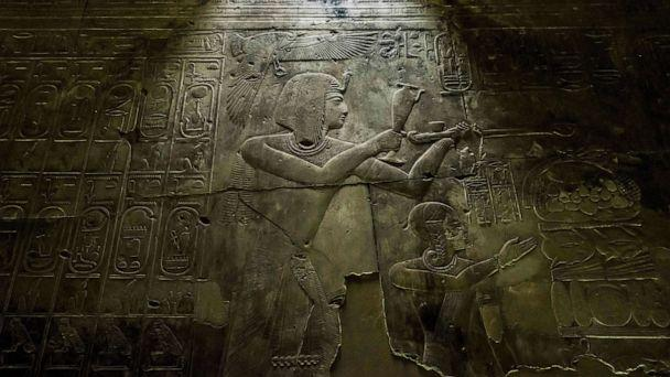 PHOTO: This picture taken on April 5, 2019 shows a view of hieroglyphic inscriptions and relief on a wall of the the New Kingdom period (16th-11th centuries BC) Temple of Seti I, at the archaeological site of Abydos near Egypt's southern city of Sohag. (Khaled Desouki/AFP/Getty Images, FILE)