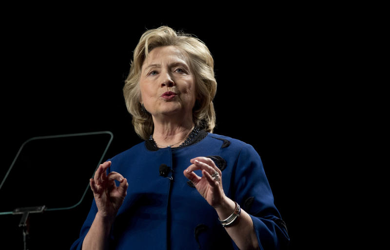 Former secretary of state Hillary Clinton speaks to a group of supporters and University of Miami students at UM in Coral Gables, Fla., Wednesday, Feb. 26, 2014. (AP Photo/J Pat Carter)