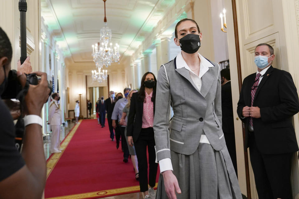 Seattle Storm's Breanna Stewart walks into the East Room of the White House in Washington, Monday, Aug. 23, 2021, for an event with President Joe Biden to celebrate the team's 2020 WNBA Championship. (AP Photo/Susan Walsh)