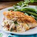 """<p>If you have little ones who are a little resistant to meat, try these <a href=""""https://spicysouthernkitchen.com/garlic-parmesan-stuffed-pork-chops/"""" class=""""link rapid-noclick-resp"""" rel=""""nofollow noopener"""" target=""""_blank"""" data-ylk=""""slk:garlic parmesan stuffed pork chops"""">garlic parmesan stuffed pork chops</a> that will distract them with cheese and breading.</p>"""