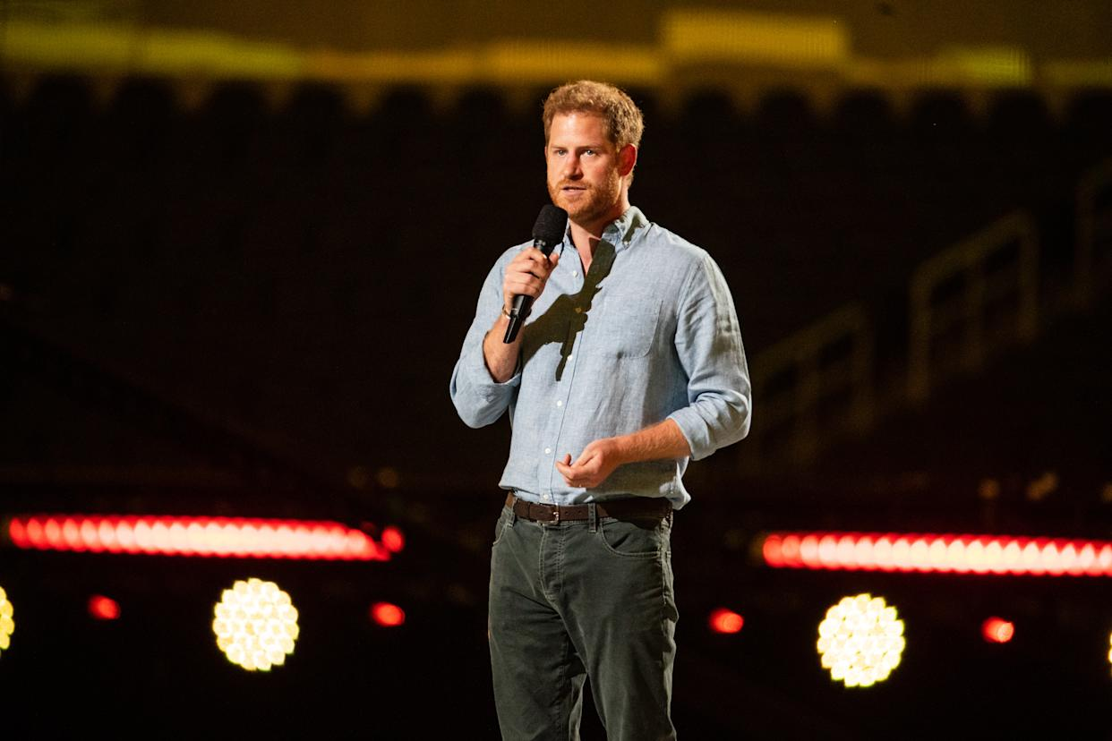 INGLEWOOD, CA - MAY 02: Prince Harry gives remarks at the Vax Live concert at SoFi Stadium on Sunday, May 2, 2021 in Inglewood, CA. (Jason Armond / Los Angeles Times via Getty Images)