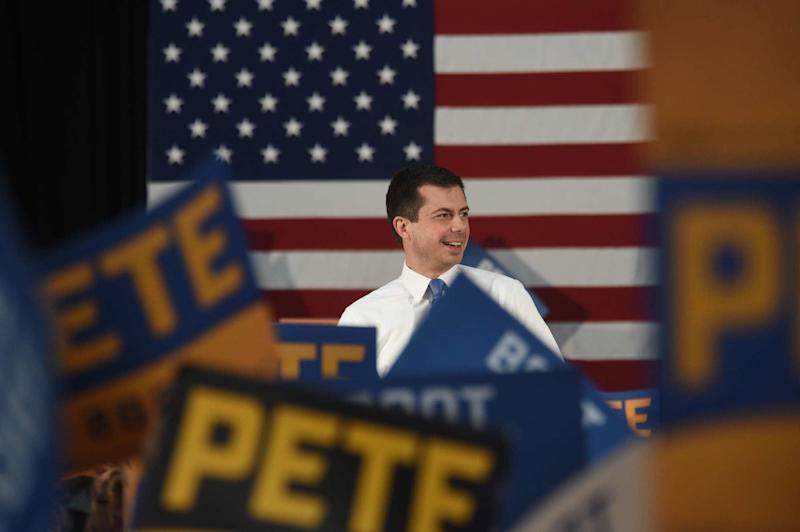Mayor of South Bend, Indiana and candidate for president Pete Buttigieg campaigns at Sparks High School on Sept. 28, 2019.