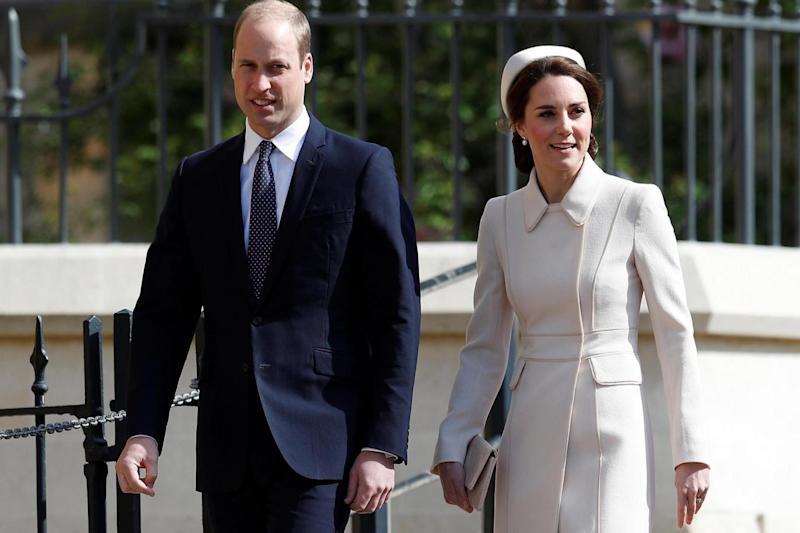 Easter: The Duke and Duchess of Cambridge arrive for the service at St. George's Chapel at Windsor Castle (PA)
