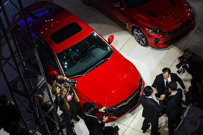 Honda executives celebrate as the 2018 Honda Accord is named the car of the year at the 2018 North American International Auto Show (NAIAS) in Detroit, Michigan