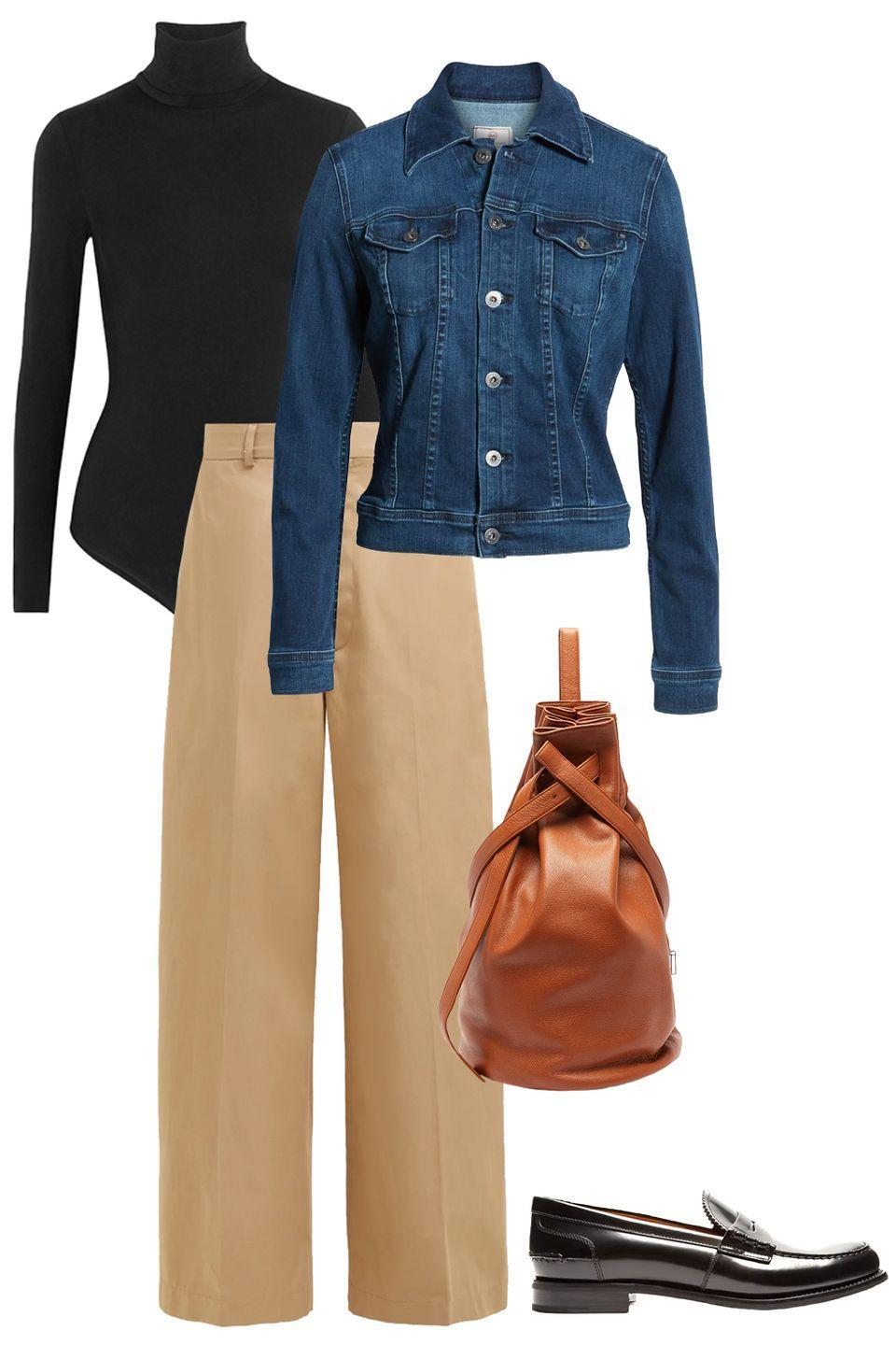 """<p>An off-duty wardrobe doesn't have to lack sophistication. A polished black turtleneck pairs perfectly with a pair of high-waisted chinos and a loafer. Parisian chic, oui? </p><p>Shop the pieces: <em><a href=""""https://www.net-a-porter.com/us/en/product/618045/Wolford/colorado-thong-bodysuit"""" rel=""""nofollow noopener"""" target=""""_blank"""" data-ylk=""""slk:Wolford Colorado Bodysuit"""" class=""""link rapid-noclick-resp"""">Wolford Colorado Bodysuit</a>,</em>$250; <em><a href=""""https://www.matchesfashion.com/us/products/Raey-Front-seam-cotton-and-linen-blend-chino-trousers-1349566"""" rel=""""nofollow noopener"""" target=""""_blank"""" data-ylk=""""slk:Raey Trousers"""" class=""""link rapid-noclick-resp"""">Raey Trousers</a>, </em>$266 (similar); <em><a href=""""https://www.tsatsas.com/product/kilo-kit-bag-calfskin-leather-burgundy/"""" rel=""""nofollow noopener"""" target=""""_blank"""" data-ylk=""""slk:TSATSAS Bag"""" class=""""link rapid-noclick-resp"""">TSATSAS Bag</a>,</em> $1,745.00; <em><a href=""""https://www.saksfifthavenue.com/product/ag-jeans-robyn-denim-jacket-0400013100675.html?dwvar_0400013100675_color=ALLIANCE"""" rel=""""nofollow noopener"""" target=""""_blank"""" data-ylk=""""slk:AG Jeans Jacket"""" class=""""link rapid-noclick-resp"""">AG Jeans Jacket</a>,</em> $215 (similar); <em><a href=""""https://www.matchesfashion.com/us/products/1206032?country=USA&rffrid=sem.Google.n=g.cid=1775440313.aid=73041766710.k=.mty=.d=c.adp=1o19.cr=343457940208.tid=aud-429604269523:pla-565858824211.pid=1206032000008.ppid=565858824211.lpm=9060351.adty=pla.prl=en&utm_content=1206032000008&utm_term=565858824211.[value].&gclid=CjwKCAiAmNbwBRBOEiwAqcwwpeS9_VaBvOUHV0gImt4Xj7Mq2ZKpGG3PnrPdu06Ok1Ua6kZYqBwIaxoCXrEQAvD_BwE&gclsrc=aw.ds"""" rel=""""nofollow noopener"""" target=""""_blank"""" data-ylk=""""slk:Church's Penny Loafers"""" class=""""link rapid-noclick-resp"""">Church's Penny Loafers</a>,</em> $505</p>"""