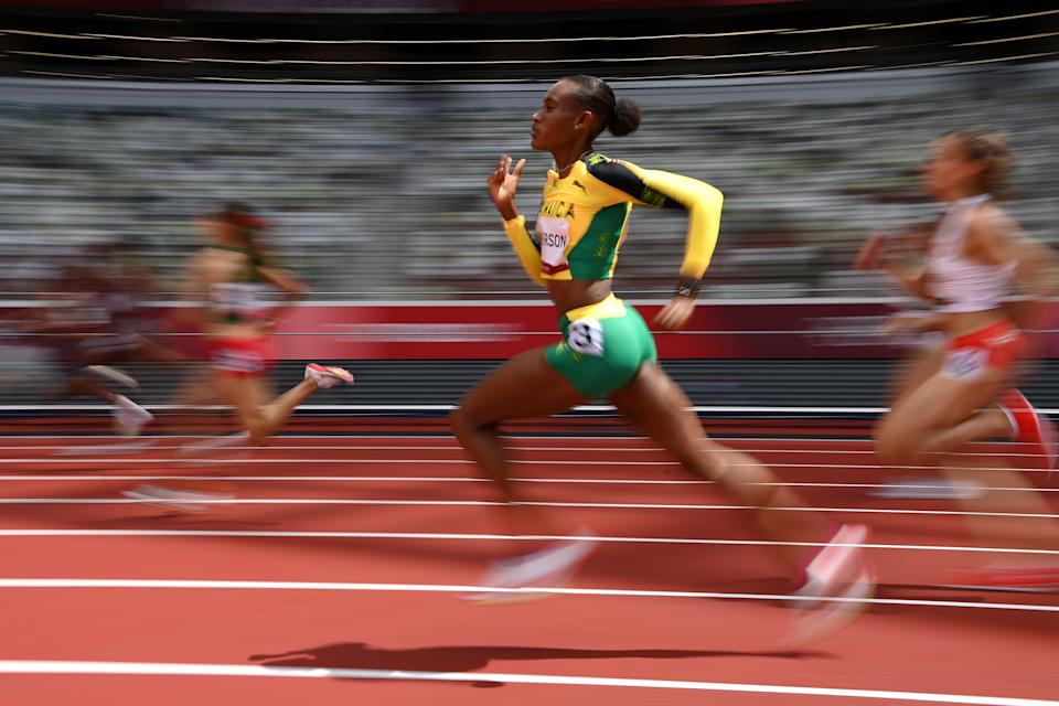 <p>Stephenie Ann McPherson of Team Jamaica competes in round one of the Women's 400m heats on day eleven of the Tokyo 2020 Olympic Games at Olympic Stadium on August 03, 2021 in Tokyo, Japan. (Photo by Matthias Hangst/Getty Images)</p>