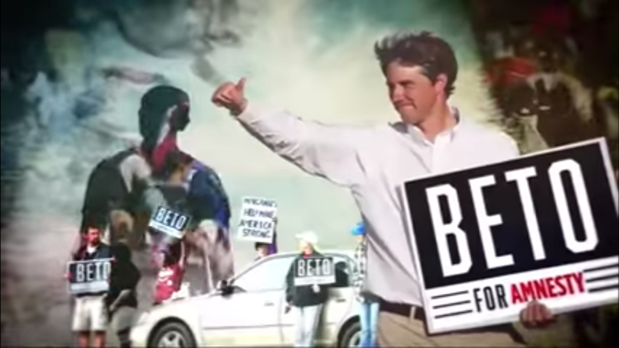 A screengrab from a super-PAC-funded ad supporting Ted Cruz and targeting Beto O'Rourke.
