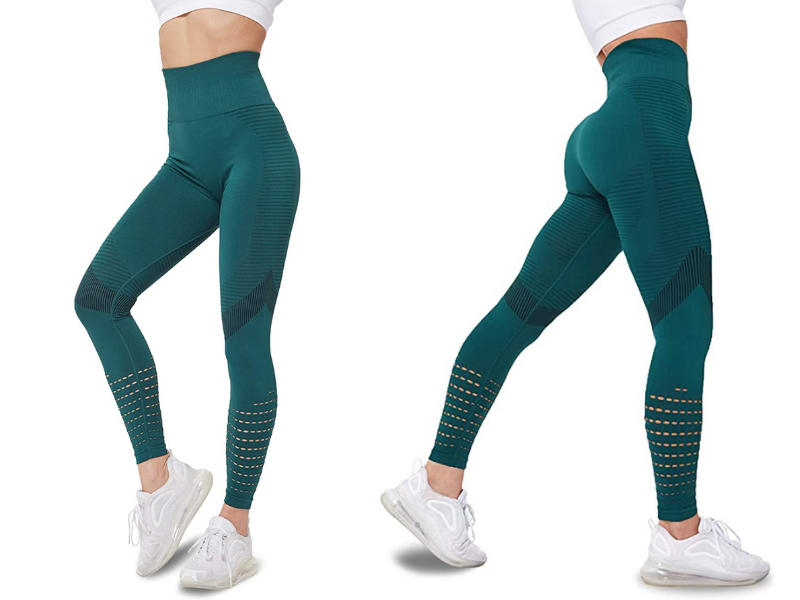 Sigeeya Women's High Waisted Leggings with Mesh. Images via Amazon.