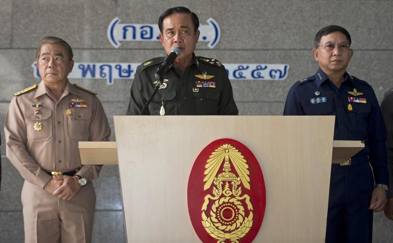 Thai military chiefs hold a press conference at the Army Club in Bangkok, May 20, 2014