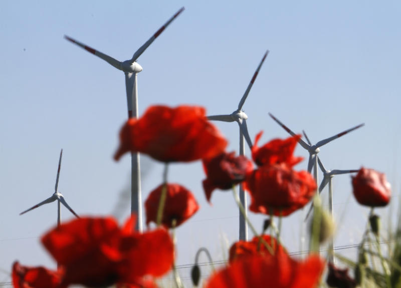 """FILE - In this June 3, 2011 file photo windmills are pictured behind poppy blossoms in Nauen-Berge near Berlin, Germany. The crisis in Ukraine is underlining the urgency of Germany's biggest political challenge as Chancellor Angela Merkel's new government marks 100 days in office Wednesday, March 26, 2014, getting the country's mammoth transition from nuclear to renewable energy sources on track. The transition started in earnest when Merkel, after Japan's 2011 Fukushima nuclear disaster, abruptly accelerated Germany's exit from nuclear power. Since then, the """"Energiewende"""" _ roughly, """"energy turnaround"""" _ has created increasing headaches. (AP Photo/Ferdinand Ostrop, File)"""