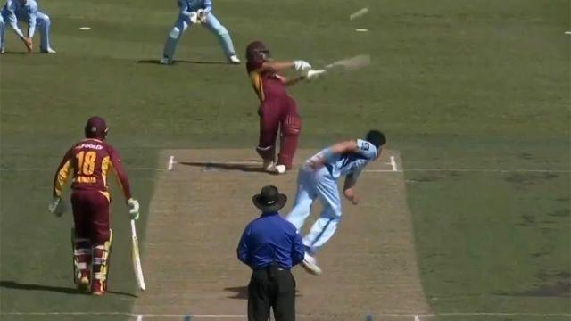 Burns has no answer for the delivery. Pic: cricket.com.au