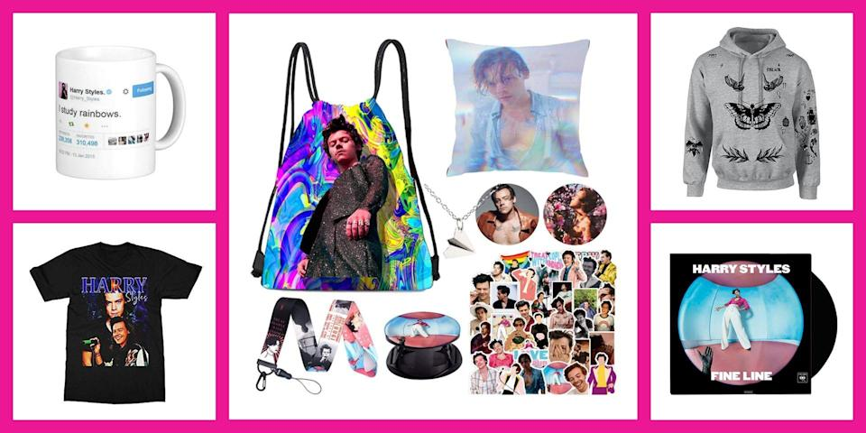 """<p>Ok, I'm sure that when you wrote """"Harry Styles"""" on your <a href=""""https://www.seventeen.com/fashion/g788/gifts-for-you/"""" rel=""""nofollow noopener"""" target=""""_blank"""" data-ylk=""""slk:Christmas wish list"""" class=""""link rapid-noclick-resp"""">Christmas wish list</a> this is <em>not </em>what you had in mind. But until the day comes that <a href=""""https://www.seventeen.com/celebrity/a34510060/harry-styles-fan-at-her-house-car-broke-down/"""" rel=""""nofollow noopener"""" target=""""_blank"""" data-ylk=""""slk:his car breaks down outside of your house"""" class=""""link rapid-noclick-resp"""">his car breaks down outside of your house</a> and he's forced to come inside to feed your fish, a massive pile of merch will have to do. </p><p>Ahead, you can shop the best fan merch inspired by Harry's tattoos, his (probably) delicious scent, and his (again, probably) silky soft curls. And just for the record, most items on this list are printed with at least one photo of his glowing face. I figured that would make you feel better. </p>"""