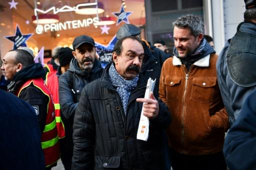 """""""We're getting dozens of emails from supporters every day,"""" Philippe Martinez, centre, of France's CGT labour union said during a rally in Paris on Friday"""