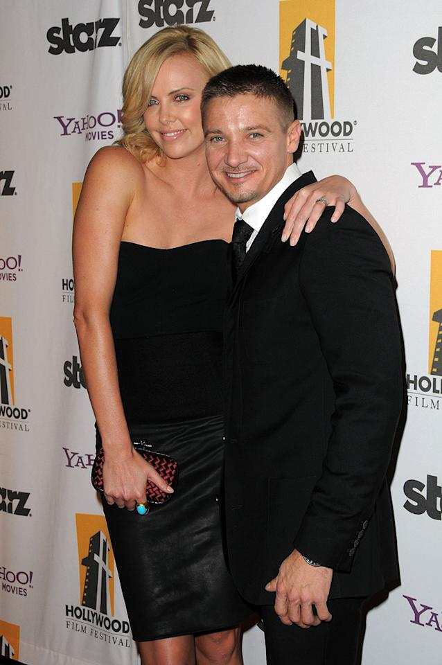 """<a href=""""http://movies.yahoo.com/movie/contributor/1800019484"""">Charlize Theron</a> and <a href=""""http://movies.yahoo.com/movie/contributor/1804495026"""">Jeremy Renner</a> at the 13th Annual Hollywood Awards Gala held at the Beverly Hilton Hotel - 10/26/2009"""