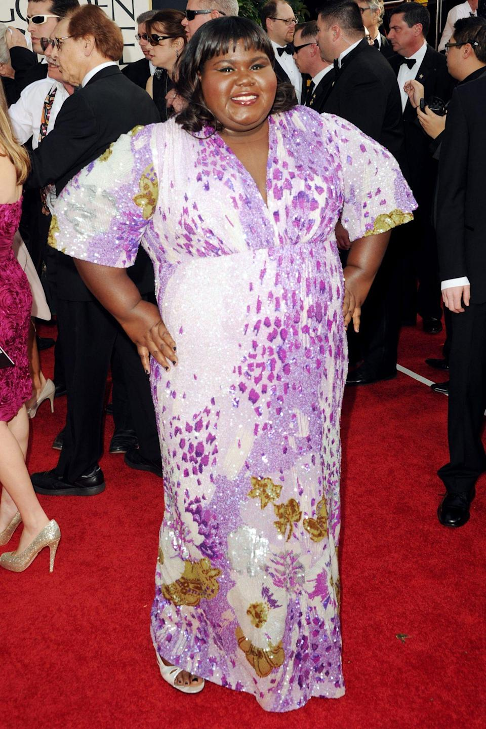 <p>Gabourey Sidibe seemed to love her sparkling floral gown that year. </p>
