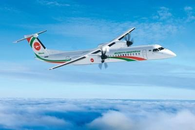 Image of Dash 8-400 aircraft in the livery of Biman Bangladesh Airlines. (CNW Group/De Havilland Aircraft of Canada)
