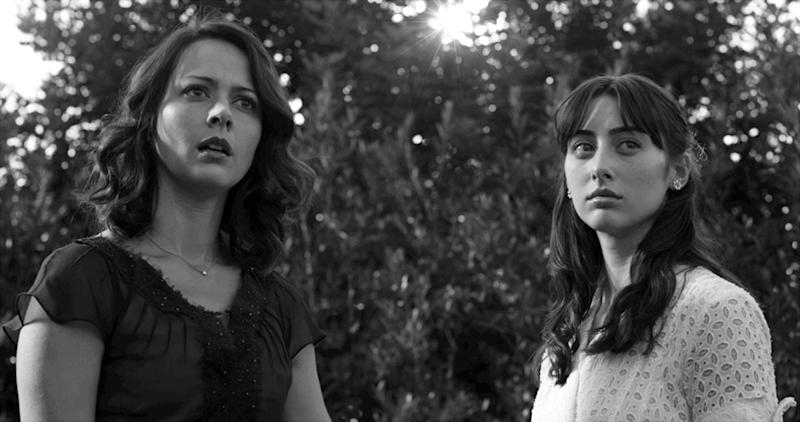 "This film image released by Roadside Attractions shows Amy Acker, left, and Jillian Morgesen in a scene from ""Much Ado About Nothing."" As an iconoclastic group, modern black-and-white movies stand out for their classical photography and their willful connection to an earlier period of filmmaking. (AP Photo/Roadside Attractions, Elsa Guillet-Chapuis)"