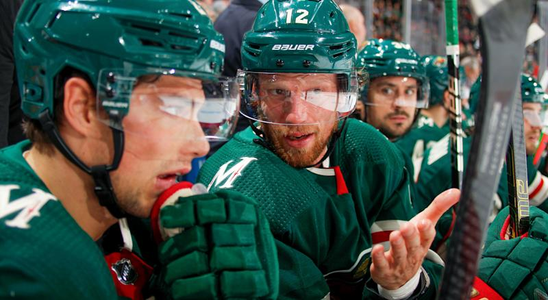 SAINT PAUL, MN - OCTOBER 12: Eric Staal #12 of the Minnesota Wild talks to a teammate during the game against the Pittsburgh Penguins at the Xcel Energy Center on October 12, 2019 in Saint Paul, MN. (Photo by Bruce Kluckhohn/NHLI via Getty Images)