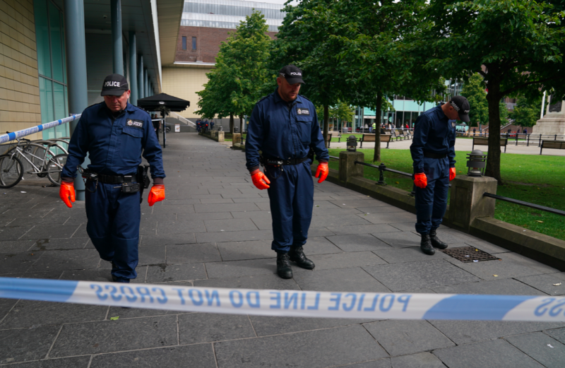 Police search teams were scouring a cordoned-off area of Old Eldon Square outside the shopping centre (PA)