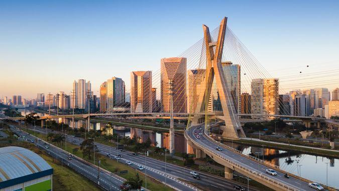 Aerial view of the famous cable-stayed bridge of Sao Paulo city.