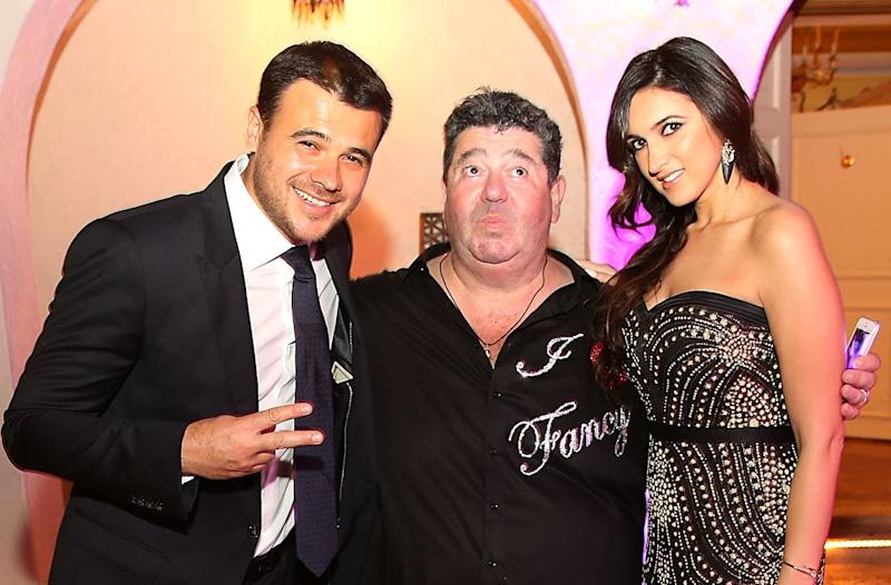 MIAMI BEACH, FL - DECEMBER 31: Rob Goldstone (center), with his client, Russian singer Emin Agalarov (left), and Sheila Agalarova (right), attends New Years Eve And Birthday Party For Irina Agalarova at Barton G on December 31, 2014 in Miami Beach, Florida. (Photo by Aaron Davidson/Getty Images for Irina Agalarov)